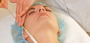 Facial cryogenic massage in spa salon